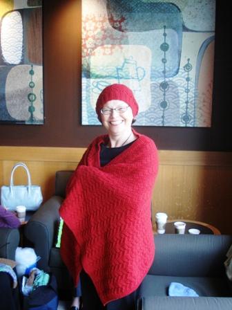 Eva in chemo cap and shawl